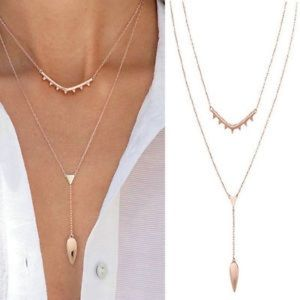 NWOT Stella & Dot Tiered Lariat Necklace Rose Gold